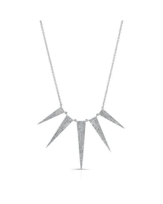 Anne Sisteron - Metallic 14kt White Gold Diamond 5 Spike Necklace - Lyst