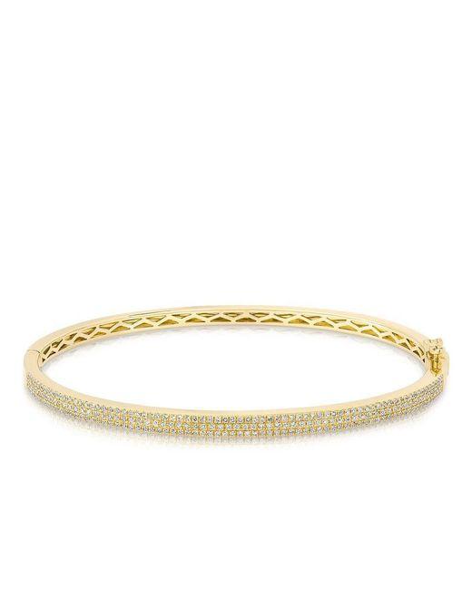 Anne Sisteron   Metallic 14kt Yellow Gold Diamond Brielle Half Pave Diamond Bangle   Lyst