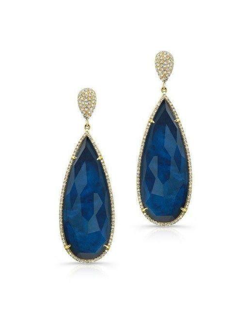 Anne Sisteron - 14kt Yellow Gold Dark Azul Diamond Earrings - Lyst