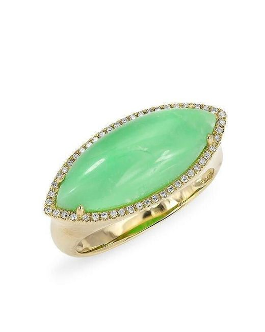 Anne Sisteron | Multicolor 14kt Yellow Gold Diamond Chrysoprase Marquis Ring | Lyst