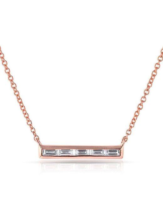 Anne Sisteron   Multicolor 14kt Rose Gold Baguette Diamond Short Bar Necklace   Lyst