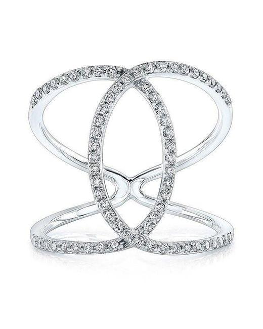 Anne Sisteron - Metallic 14kt White Gold Diamond Cigar Band Ring - Lyst