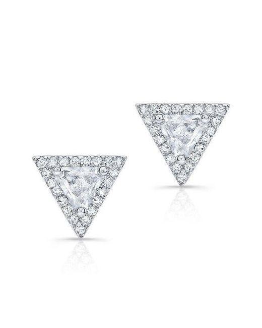 Anne Sisteron - 14kt White Gold White Topaz Triangle Diamond Stud Earrings - Lyst