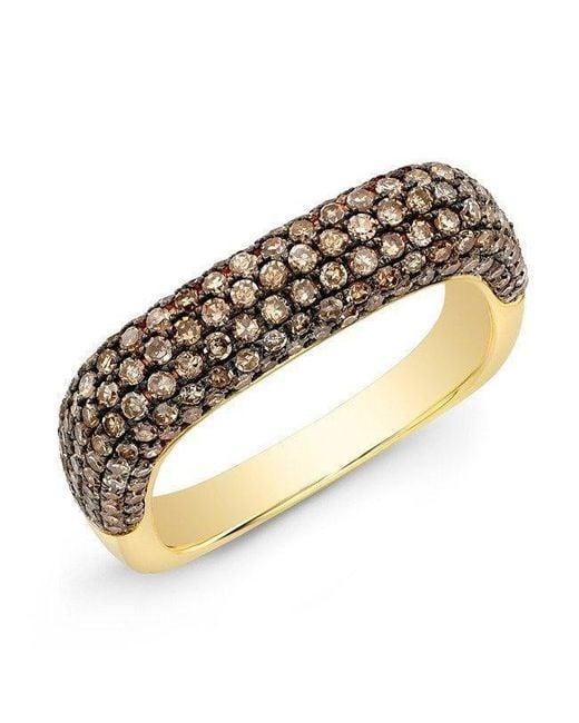 Anne Sisteron | Metallic 14kt Yellow Gold Champagne Diamond Square Ring | Lyst