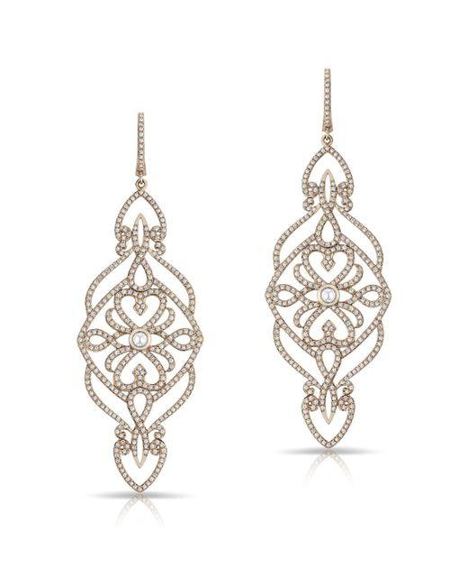 Anne Sisteron - Metallic 14kt Rose Gold Diamond Manoir Diamond Earrings - Lyst