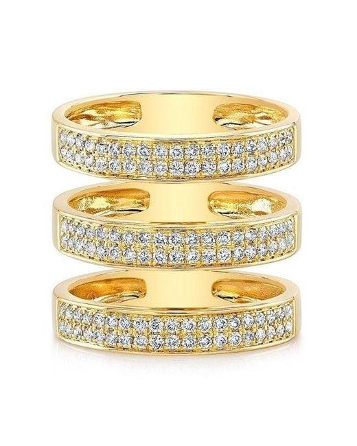 Anne Sisteron | Metallic 14kt Yellow Gold Diamond Large Triple Bar Ring | Lyst