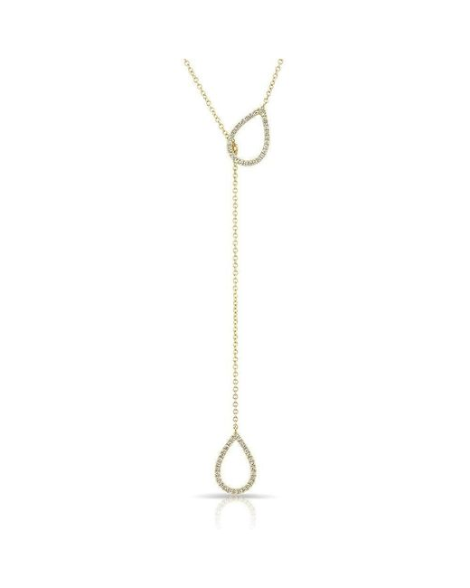 Anne Sisteron - Metallic 14kt Yellow Gold Diamond Open Double Pear Drop Necklace - Lyst