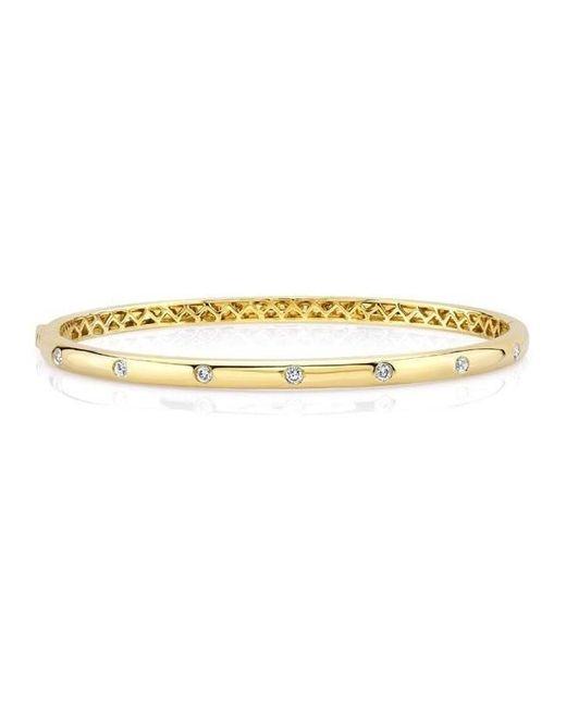 Anne Sisteron | Metallic 14kt Yellow Gold Half Diamond Glisten Bangle Bracelet | Lyst