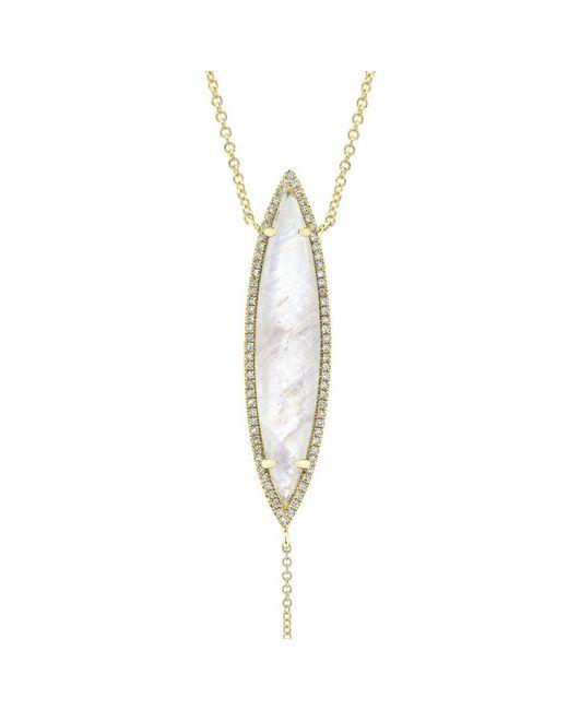 Anne Sisteron Metallic 14kt Yellow Gold Diamond Moonstone Marquis Lariat Necklace