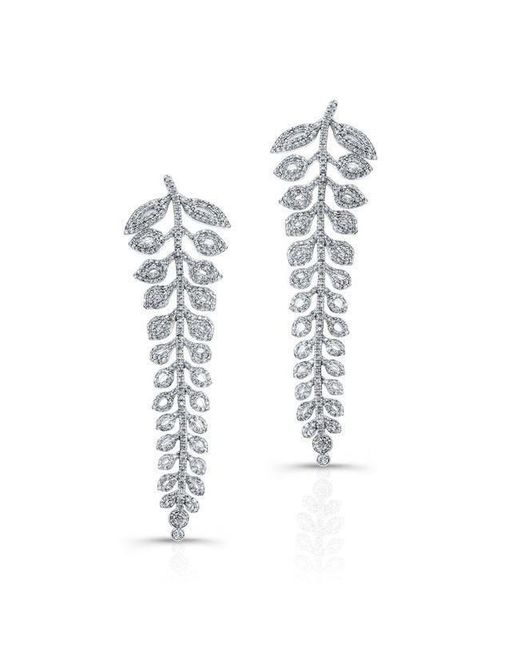 Anne Sisteron - Metallic 18kt White Gold Diamond Vine Earrings - Lyst