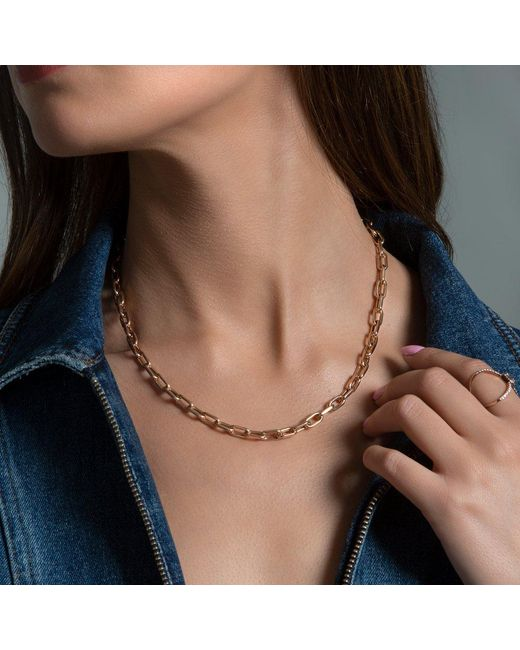 "Anne Sisteron Metallic 14kt Rose Gold 18"" Chain Link Lillian Necklace"