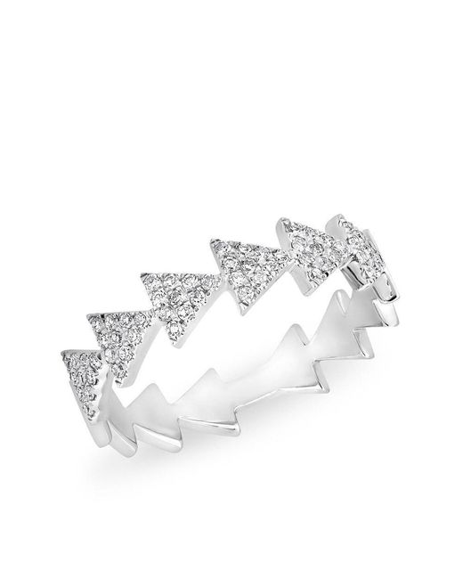 Anne Sisteron - Metallic 14kt White Gold Diamond Triangle Totem Ring - Lyst