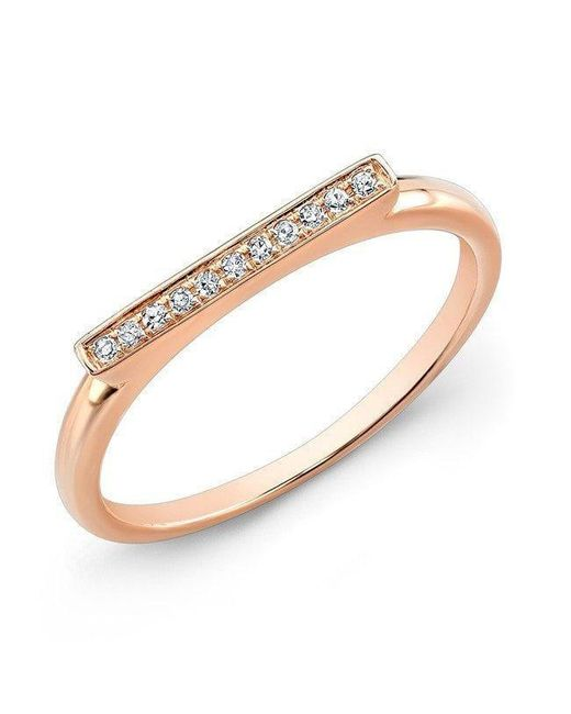 Anne Sisteron - Metallic 14kt Rose Gold Diamond Long Bar Ring - Lyst