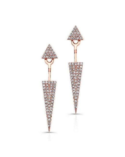 Anne Sisteron | Metallic 14kt Rose Gold Diamond Double Triangle Floating Earrings | Lyst