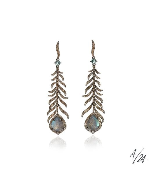 Annoushka   Metallic Gold Diamond And Labradorite Tsar Feather Earrings   Lyst