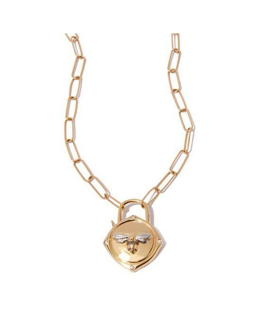 Annoushka Metallic Lovelock 14ct Gold Mini Cable Chain Bee Charm Necklace
