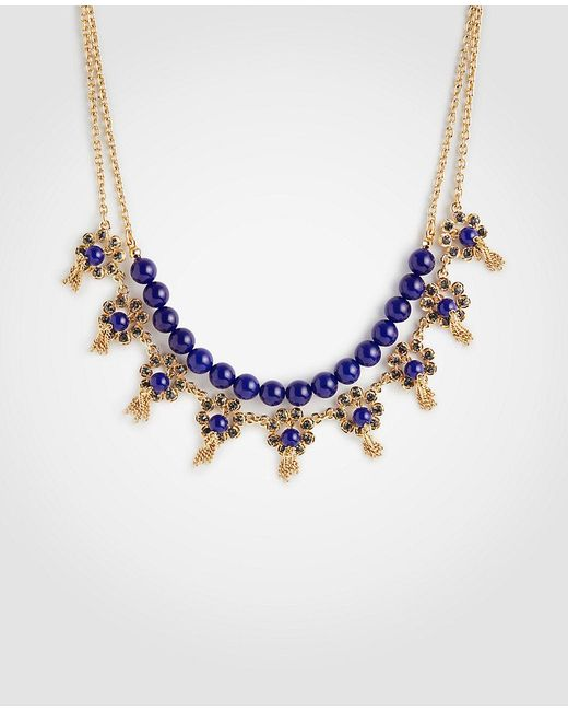 Ann Taylor - Blue Pave Flower Tassel Necklace - Lyst