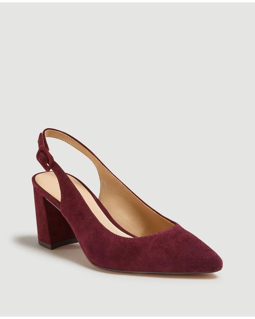 Ann Taylor Red Brielle Suede Block Heel Slingback Pumps
