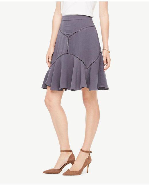 Ann Taylor   Purple Cutout Seamed Skirt   Lyst