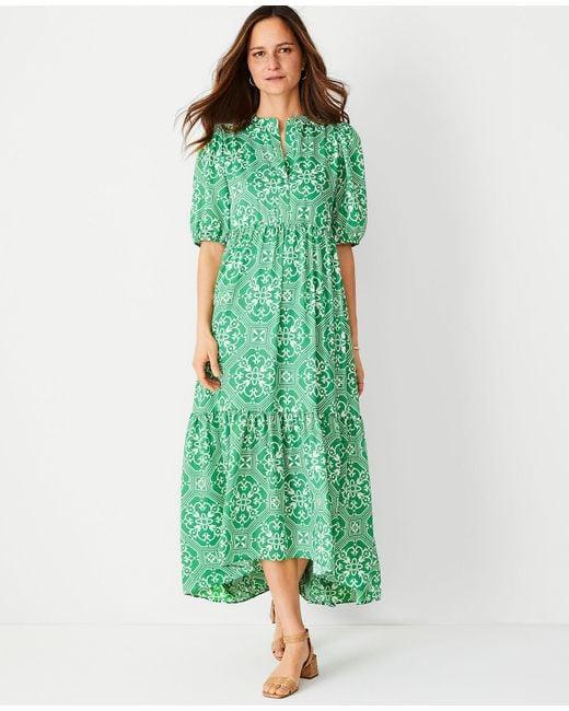 Ann Taylor Green Petite Tile Print Puff Sleeve Midi Dress