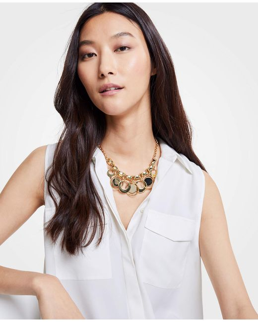 Ann Taylor - Modern Metallic Statement Necklace - Lyst