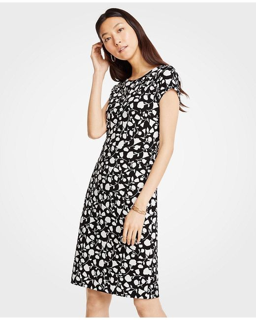 Ann Taylor - Black Floral Boatneck Sheath Dress - Lyst