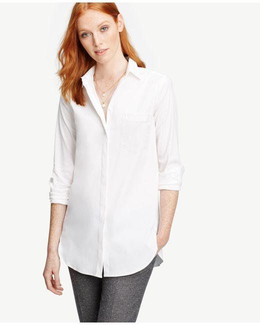 Ann Taylor | White Petite Oversized Shirt | Lyst