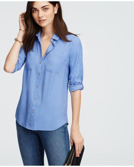 Ann Taylor | Blue Silky Camp Shirt | Lyst
