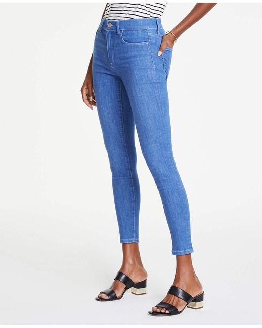 Ann Taylor Blue Petite Performance Stretch Skinny Jeans In Bright Mid Indigo Wash