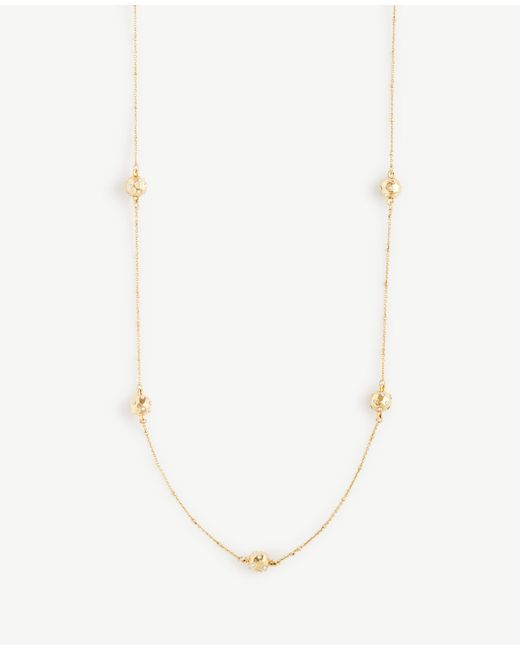 Ann Taylor   Metallic Pave Hammered Station Necklace   Lyst