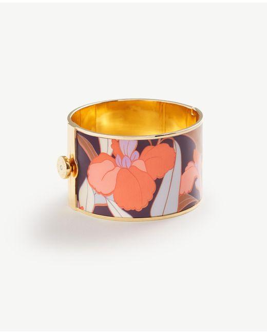 Ann Taylor | Metallic Enamel Floral Bangle | Lyst