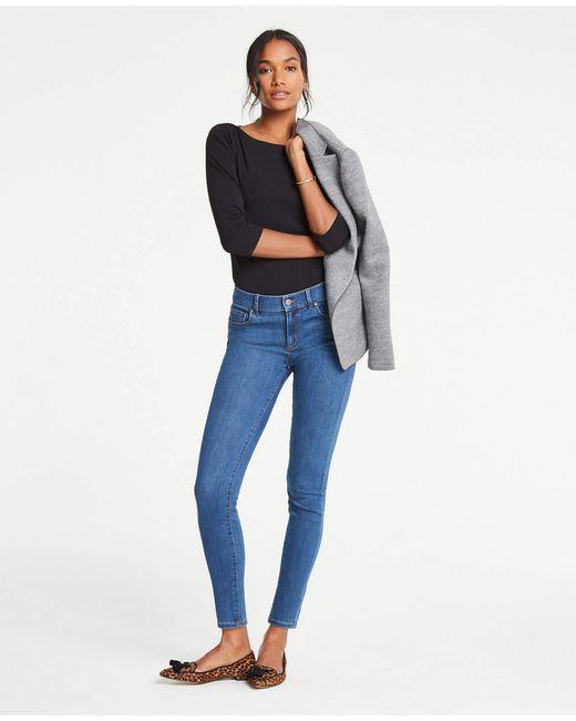 Ann Taylor Curvy Performance Stretch Skinny Jeans In Classic Blue Wash