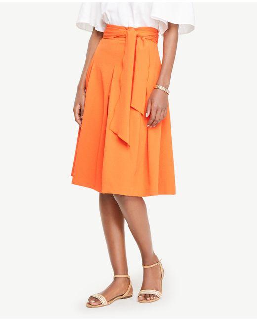 Ann Taylor | Orange Belted Full Skirt | Lyst