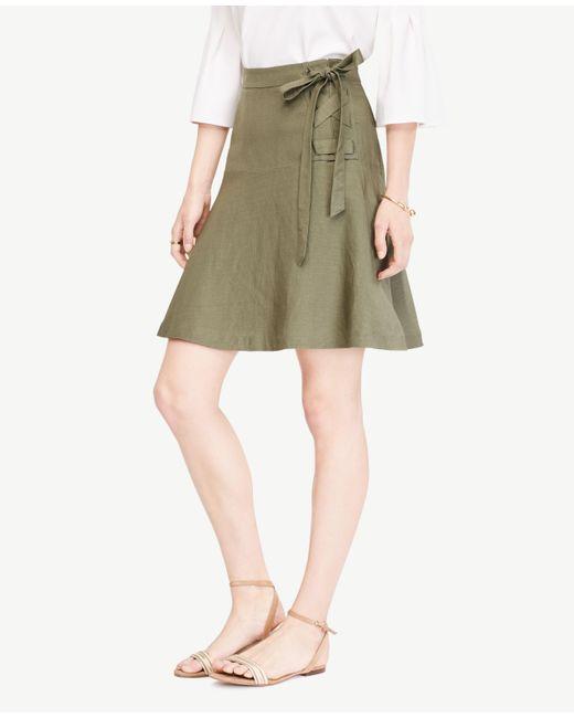 Ann Taylor | Green Linen Blend Lace Up Skirt | Lyst