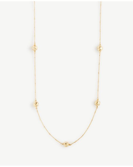Ann Taylor | Metallic Pave Hammered Station Necklace | Lyst