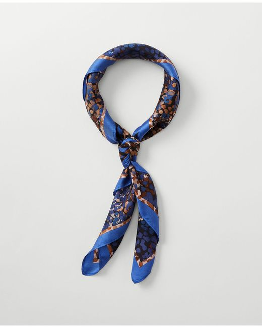 Ann Taylor Blue Animal Print Silk Little Scarf