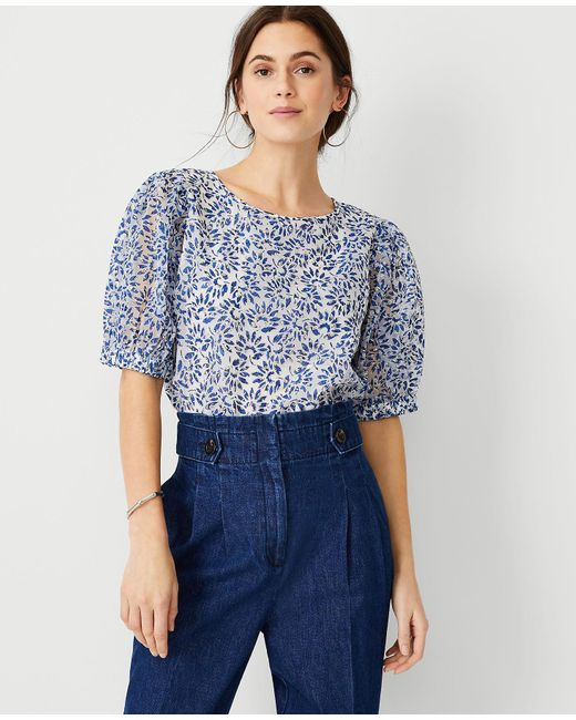 Ann Taylor Blue Tie Back Puff Sleeve Top