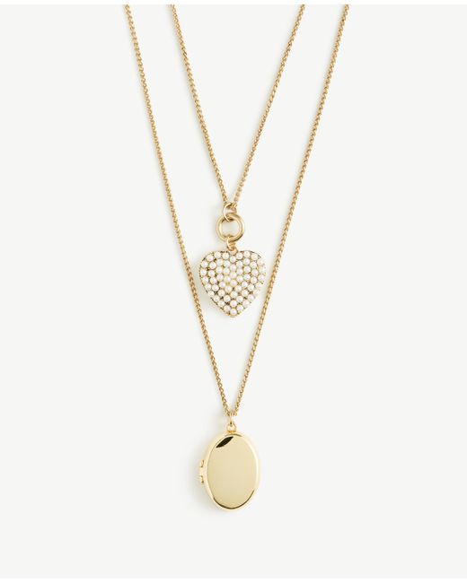 Ann Taylor | Metallic Pearlized Heart And Locket Layering Necklace | Lyst