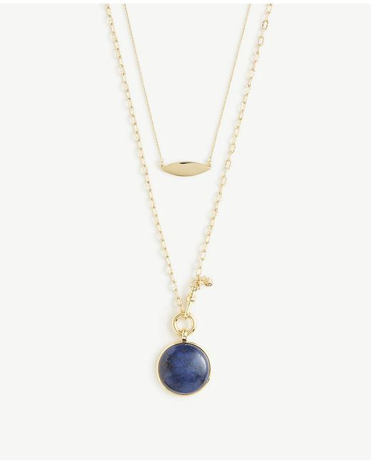 Ann Taylor - Metallic Blue Stone Pendant Layering Necklace - Lyst