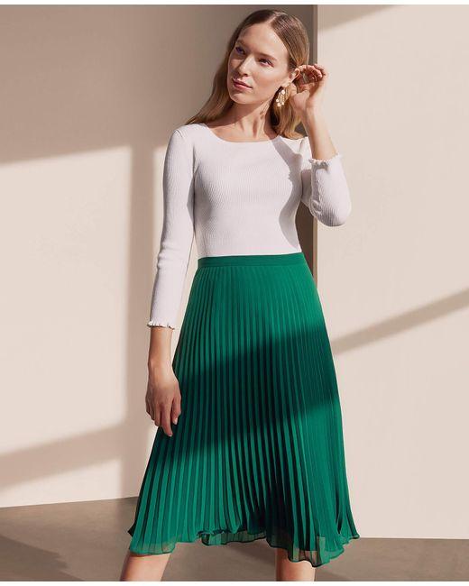 da9bf053579b ... Ann Taylor - Green Pleated Skirt - Lyst ...