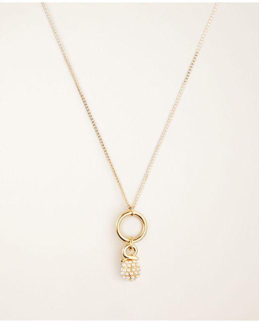 Ann Taylor Metallic Pearlized Fireball Pendant Necklace