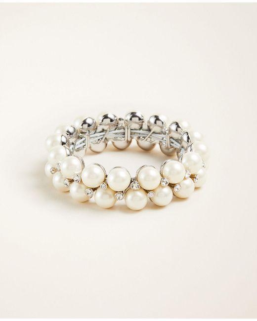 Ann Taylor Metallic Pearlized Cluster Stretch Bracelet