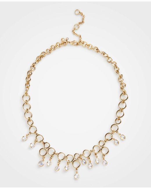 Ann Taylor - Metallic Crystal Circle Necklace - Lyst