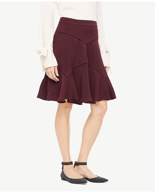 Ann Taylor   Red Cutout Seamed Skirt   Lyst