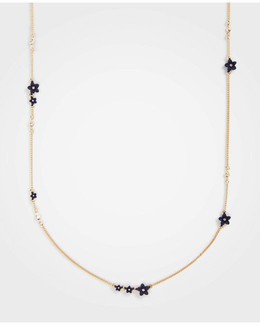 Ann Taylor - Coated Metallic Flower Station Necklace - Lyst