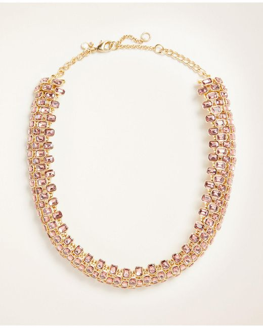 Ann Taylor Multicolor Rectangle Crystal Statement Necklace
