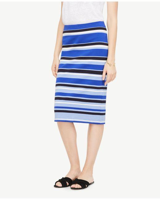 Ann Taylor | Blue Striped Ponte Pencil Skirt | Lyst