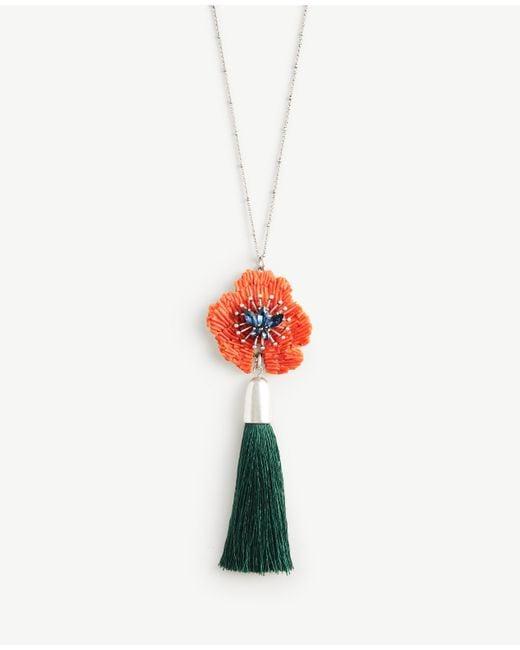Ann Taylor | Multicolor Textured Floral Tassel Pendant | Lyst