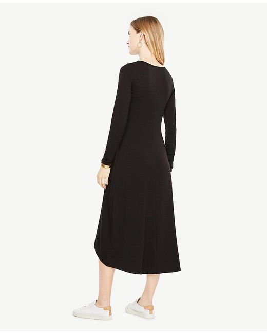 Ann Taylor - Black Elliptical Hem Midi Dress - Lyst