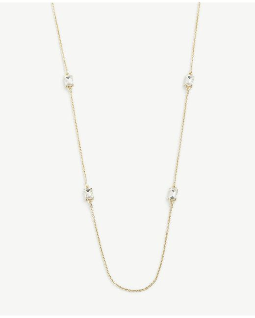 Ann Taylor - Metallic Crystal Layering Necklace - Lyst